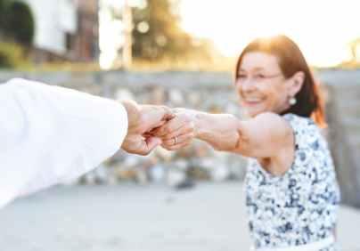 man holding woman s hand